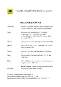 SNF Folkare VERKSAMHETSPLAN  2015